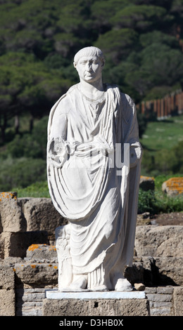 Ancient statue of Cesar in Baleo Claudia, Andalusia, southern Spain - Stock Photo