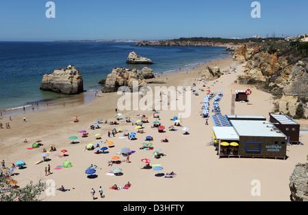 The famous Algarve beach - Praia da Rocha in Portimao, Portugal - Stock Photo