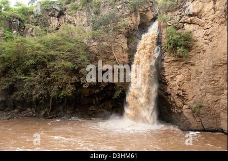 Makalia waterfall, Lake Nakuru National Park, Kenya - Stock Photo