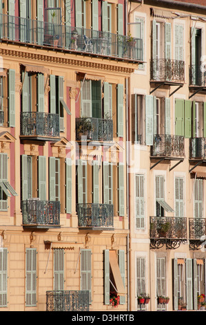 Old buildings in Old Nice Provence France - Stock Photo