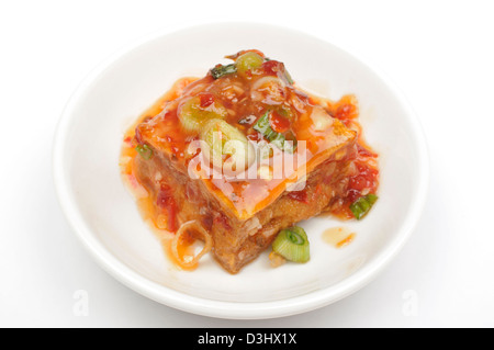 Tofu and sauce - Stock Photo