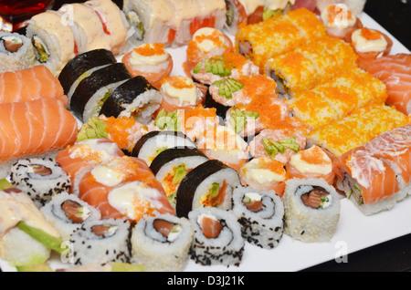 sushi set on white plate - Stock Photo