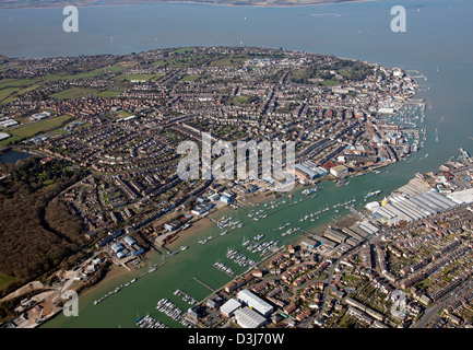 Aerial view of Cowes on the Isle of Wight, and the River Medina estuary flowing into The Solent - Stock Photo