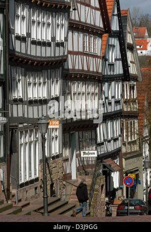 (dpa) - A view of old half-timbered houses dating from the 16th to 18th century, at the spa Bad Wildungen, central - Stock Photo