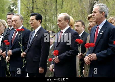 (dpa) - (from R) US President George W Bush, Russian President Vladimir Putin, Chinese President Hu Jintao, Kazakhstan's - Stock Photo