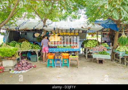 fruit and vegetable market in dili east timor - Stock Photo