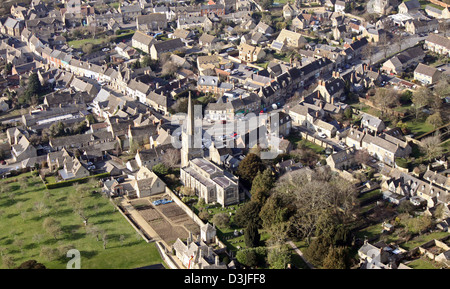 aerial view of Lechlade in Gloucestershire, Lechlade-on-Thames with15th Century parish church of Saint Lawrence - Stock Photo