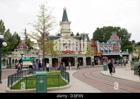 Main Street USA in Disneyland Paris France - Stock Photo