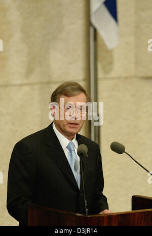 (dpa) - German President Horst Koehler holds a speech at the Knesset in Jerusalem, Israel on Wednesday 02 February - Stock Photo