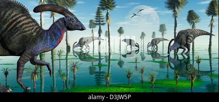 A Group Of Duckbill Hydrosaur Dinosaurs Feeding. - Stock Photo