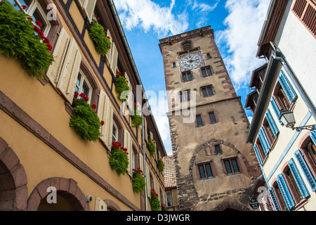 Tower in Ribeauville, Haut Rhin, Alsace, France - Stock Photo