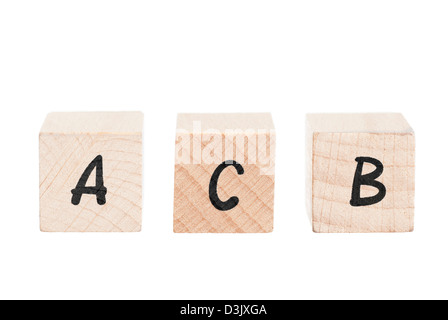 Dipiction of learning the abc's. White background. - Stock Photo