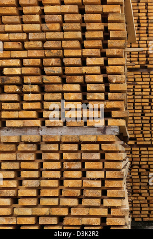 Älvsered, Sweden, stack Kanthoelzer in a sawmill - Stock Photo