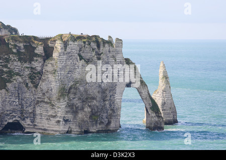 Chalk cliff at Etretat, Haute Normandie, France - Stock Photo