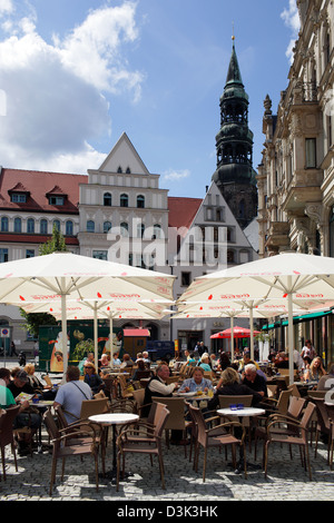 Zwickau, Germany, Guests in street cafes on the main market - Stock Photo