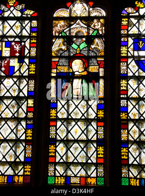 Stained glass window in grade 1 listed 16th-century King's College Chapel Cambridge Cambridgeshire England Europe - Stock Photo