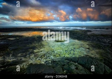 Tidepools and sunrise on the Kohala Coast. The Big Island, Hawaii. - Stock Photo