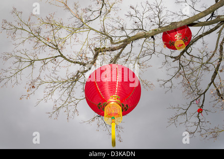 Red lanterns, Dr Sun Yat Sen Park and Gardens, Chinatown, Vancouver, British Columbia, Canada - Stock Photo