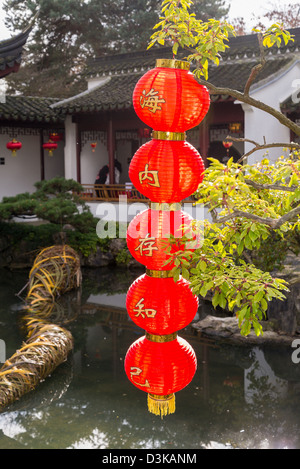 Red lanterns decorate, Dr Sun Yat Sen Garden for Chinese New Year, Chinatown, Vancouver, British Columbia, Canada - Stock Photo