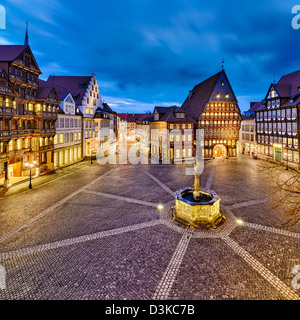 Historic market place in the old city of Hildesheim, Germany - Stock Photo