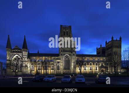 Durham Cathedral at night, Durham City, Durham - Stock Photo