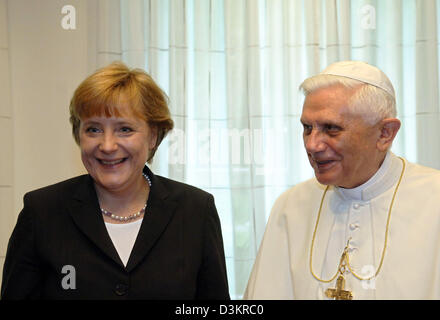 (dpa) - Pope Benedict XVI welcomes Chairwoman of the CDU Angela Merkel during the 20th World Youth Day at the Archbishop's House in Cologne, Germany, 20 August 2005. Today the leader of the catholic church met several politicians of high position for private audiences, German Federal Chancellor Schroeder (R) and his wife Doris Schroeder-Koepf as well as the President of the Bundest