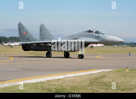Hungarian Air Force MiG-29 Fulcrum fighter jet on the Kecskemet airbase, Hungary - Stock Photo