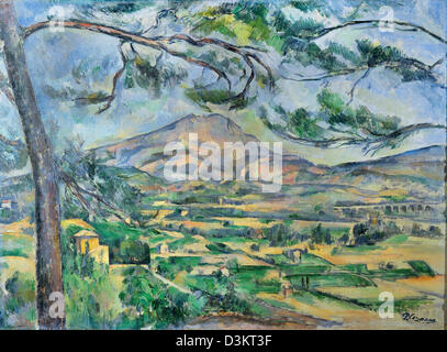 Paul Cezanne, Mont Sainte-Victoire 1887 Oil on canvas. Courtauld Institute of Art, London, UK - Stock Photo
