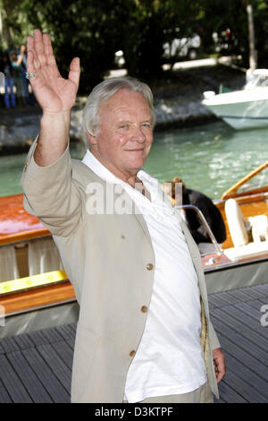 (dpa) - Actor Anthony Hopkins waves at the presentation of the movie 'Proof' during the 62nd International Film - Stock Photo