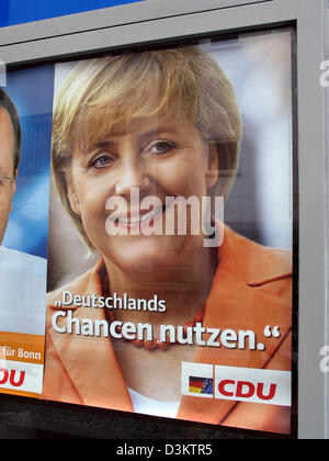 (dpa) - Angela Merkel, chairwoman of the Christian Democratic Party (CDU) and her party's top candidate for the chancellorship in Germany, is featured on an election poster of the CDU, which reads 'Utilise Germany's prospects',  ahead of the general elections for the German Bundestag parliament on 18 September 2005, pictured in the state of North Rhine Westphalia, Germany on 23 Aug