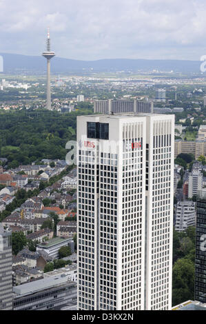 The Operturm (Opera tower) from the top of the Main Tower, Frankfurt, Germany. - Stock Photo