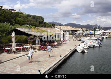 (dpa) - The picture shows the harbour of the city of Porto Rotondo at the Sardinian Costa Smeralda, Italy, 03 August - Stock Photo