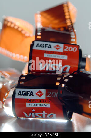 (dpa) - A symbolic picture shows crumbled Agfa photo films and small picture cartridges in Cologne, Germany, Wednesday - Stock Photo