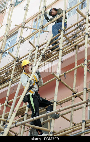 (dpa files) - Scaffolders are busy putting up a scaffolding with bamboo in Hong Kong, China, 25 October 2004. Office - Stock Photo