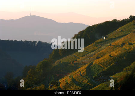 (dpa) - A view across the autumn coloured Black Forest with the  Kaiserstuhl mountain range (middle) and the so - Stock Photo