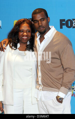 US singer and musician Kanye West (R) and his mother Donda pose together at the MGM  Grand Hotel in Las Vegas, USA, - Stock Photo