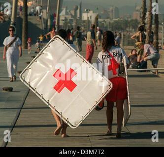 (dpa) - Finishing time for the Red Cross lifeguards at the beach promenade at the Platja de la Nova Icaria in Barcelona, - Stock Photo