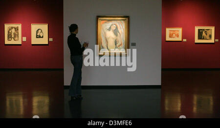 A women (C) tours through the exhibition  '...aus dem modernen Seelenleben' (the modern life of the soul) featuring - Stock Photo