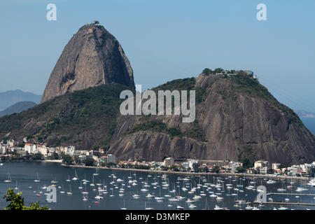 View of Sugar Loaf and Botafogo´s cove in Rio de Janeiro - Stock Photo