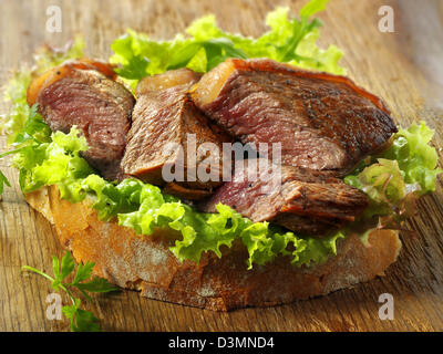 Sirloin steak sandwich & salad - Stock Photo