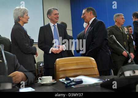 US Secretary of Defense Leon Panetta meets with United kingdom's Minister of Defense Philip Hammond at NATO Headquarters - Stock Photo