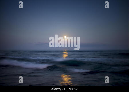 Moonset. Hawaii, The Big Island. - Stock Photo