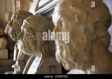 Ancient Roman and Greek sculpture on display at the Capitoline museum in Rome Italy - Stock Photo