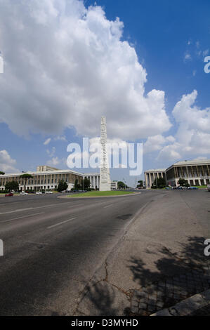 Italy, Lazio, Rome, Eur district, Piazza Guglielmo Marconi Square, Guglielmo Marconi Obelisk - Stock Photo