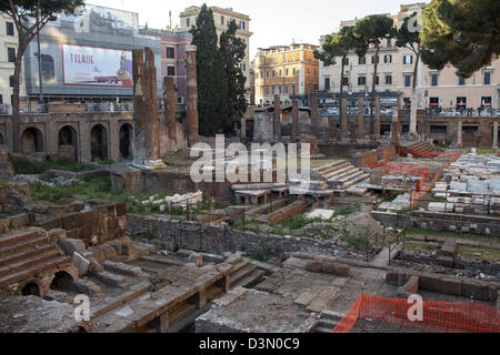 Largo di Torre Argentina in Rome & the remains of several Roman temples in the ancient Campus Martius & home to - Stock Photo
