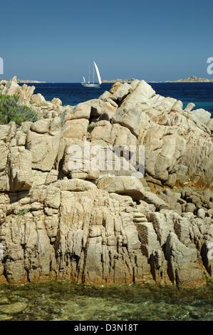 Yachts sailing near the granite rocks of the Emerald coast, Porto Cervo, Arzachena,Olbia Tempio province,Sardinia, - Stock Photo