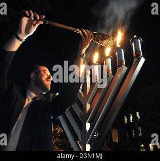 Public Menorah lighting celebrating Hanukkah in New Haven CT USA - Stock Photo