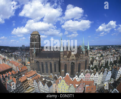 Poland, Danzig, Gdansk, aerial view of St. Mary's Church - Stock Photo
