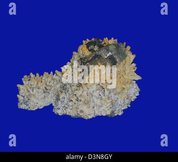 quartz, pyrite, sphalerite - Stock Photo