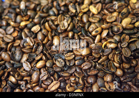 The picture shows a sample of slightly roasted green coffee in Neumann Kaffee Group's raw coffee centre in Hamburg - Stock Photo